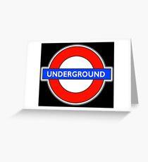 TUBE, UNDERGROUND, LONDON, ENGLAND, UK, BRITAIN, English, BRITISH, on BLACK Greeting Card