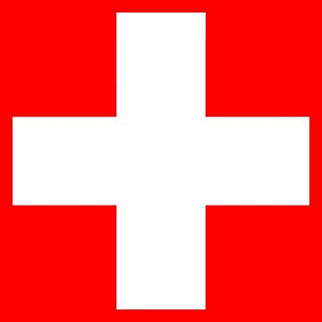 WHITE CROSS, on RED, Swiss, Switzerland, Swiss Flag, Flag of Switzerland, White Cross, Swiss Confederation, by TOMSREDBUBBLE
