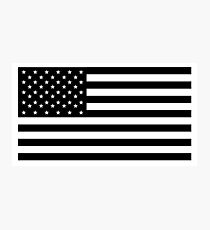 American Flag, STARS & STRIPES, USA, America, Black on white Photographic Print
