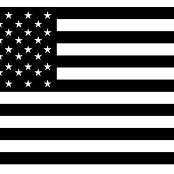 American Flag, STARS & STRIPES, USA, America, Black on white by TOMSREDBUBBLE