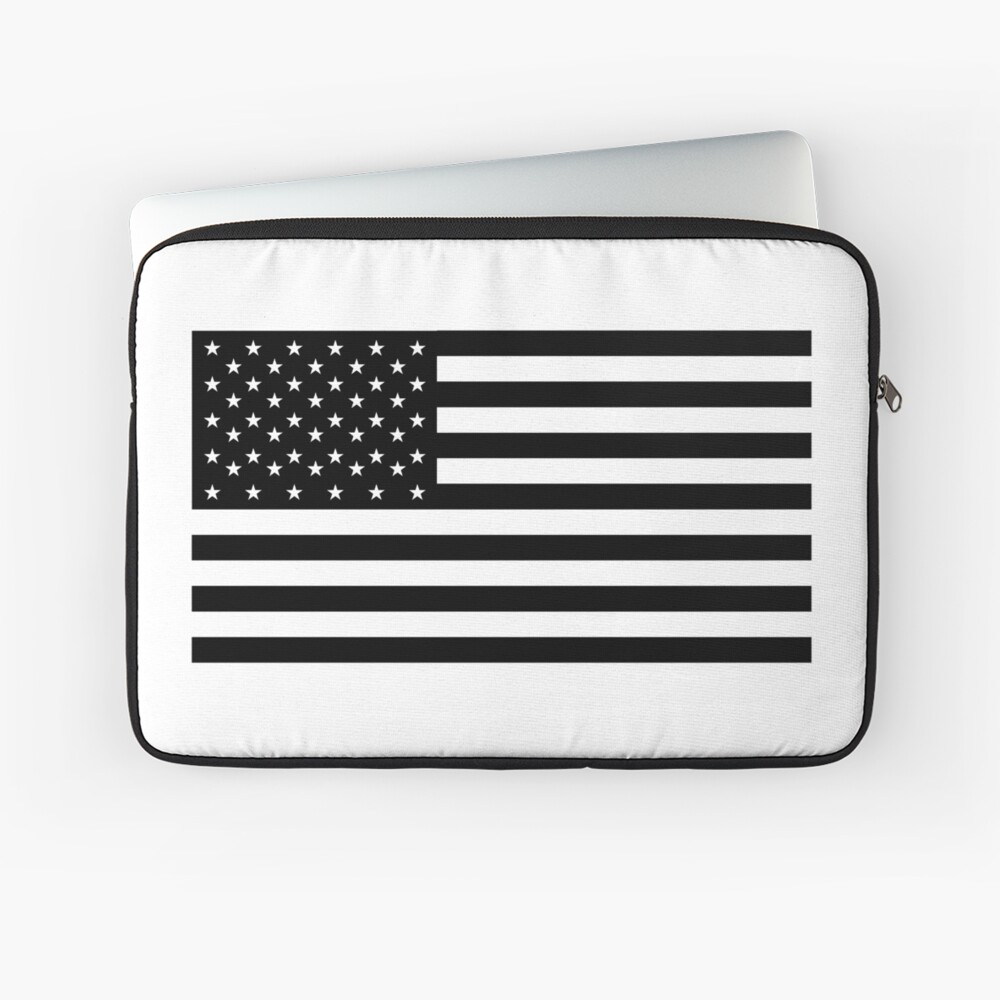 Bandera americana, STARS & STRIPES, EE. UU., América, negro sobre blanco Funda para portátil