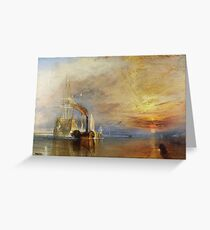 TURNER, The Fighting Temeraire, 1839, Joseph Mallord William Turner. on BLACK Greeting Card