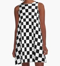 Checkered Flag, Chequered Flag, Motor Sport, Checkerboard, Pattern, WIN, WINNER,  Racing Cars, Race, Finish line, BLACK A-Line Dress