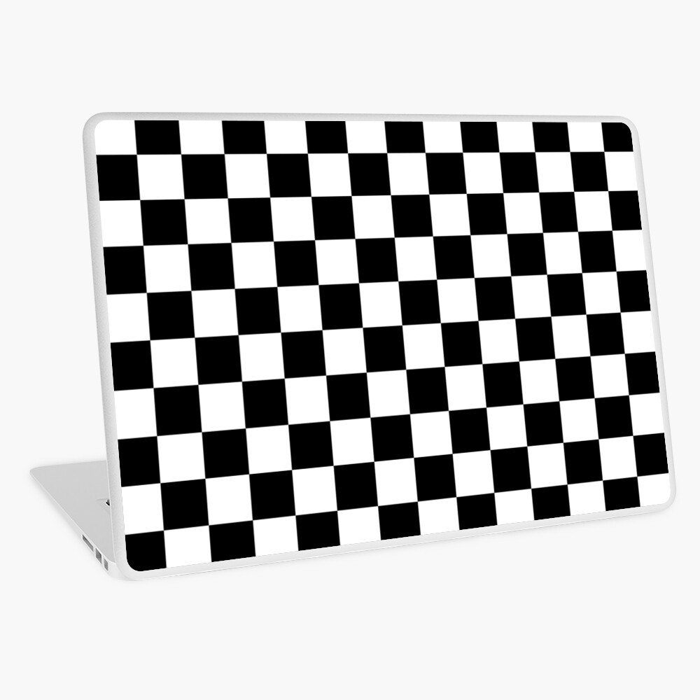 Checkered Flag, Chequered Flag, Motor Sport, Checkerboard, Pattern, WIN, WINNER,  Racing Cars, Race, Finish line, BLACK. Laptop Skin