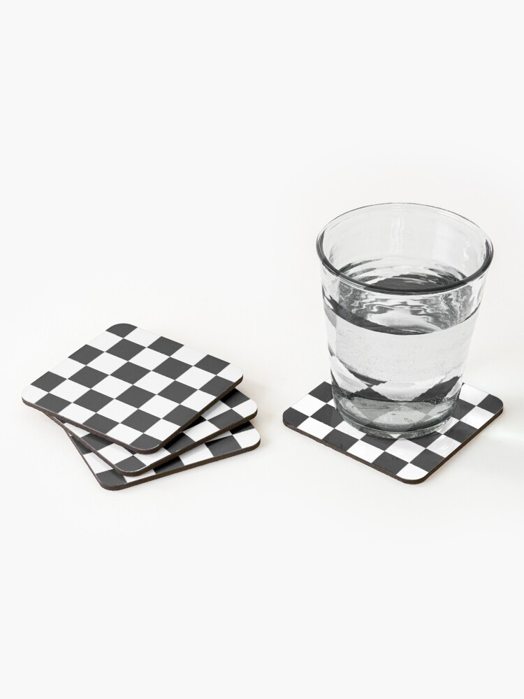 Alternate view of Checkered Flag, Chequered Flag, Motor Sport, Checkerboard, Pattern, WIN, WINNER,  Racing Cars, Race, Finish line, BLACK. Coasters (Set of 4)