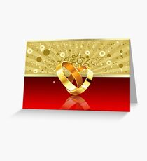 Romantic background with wedding rings 2 Greeting Card