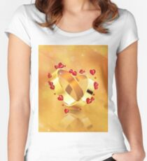 Romantic background with wedding rings 4 Women's Fitted Scoop T-Shirt