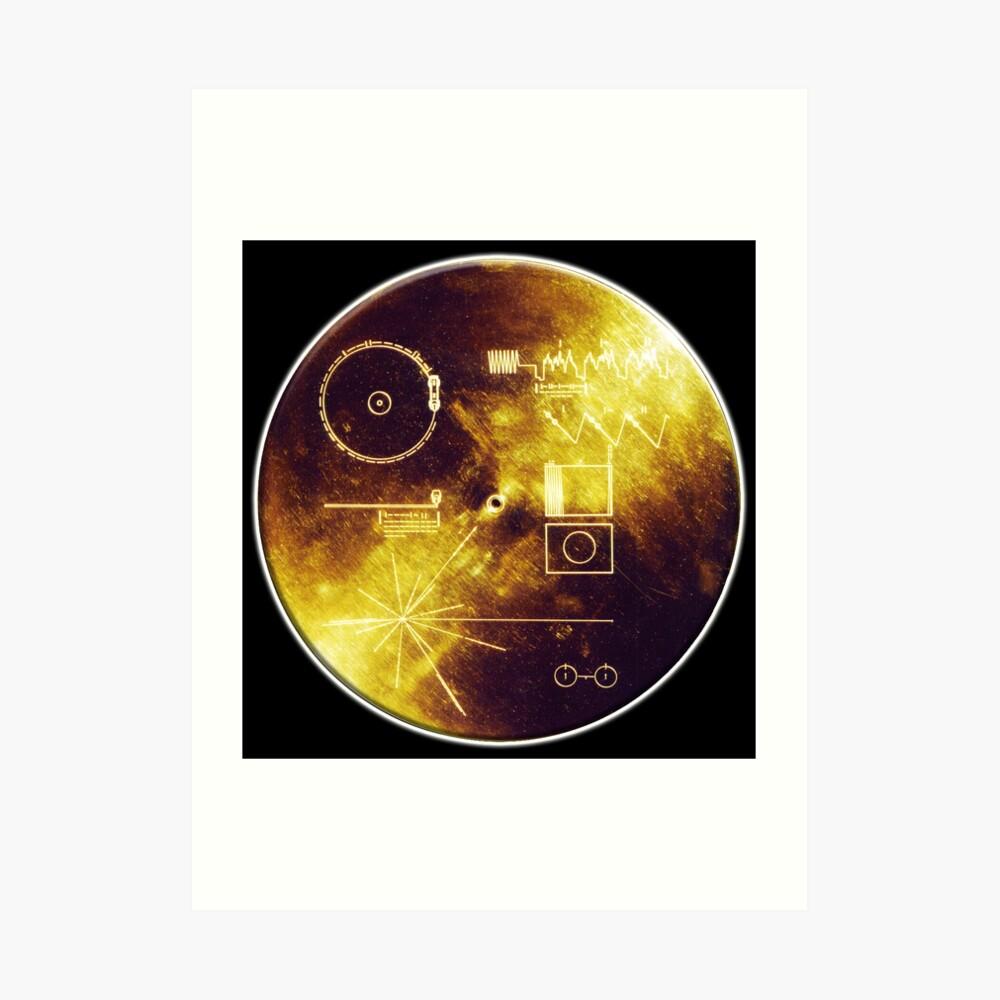 VOYAGER, Raum, Goldene Schallplatte, Raumschiff, Nachricht an Aliens Kunstdruck