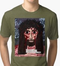 The Face of Jesus Crucified -Exhausted Shepherd Tri-blend T-Shirt