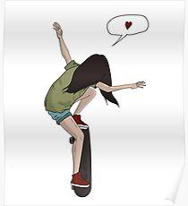 Skateboard Mädchen Poster