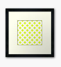 Chartreuse Plus Sign Pattern (Reverse) Framed Print