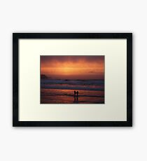 Bodyboarders at Sunset, Rossnowlagh, Co. Donegal Framed Print