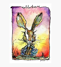 Cello Hare Watercolour and ink Photographic Print