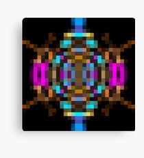 geometric square pixel abstract in blue orange pink with black background Canvas Print