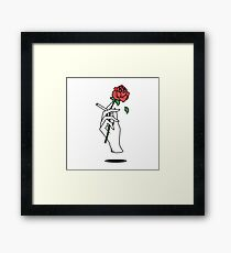 hand holding cigarette and rose Framed Print