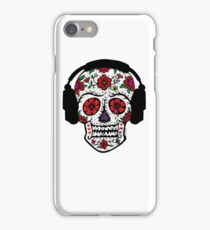 Sugar Skull with Headphones iPhone Case/Skin