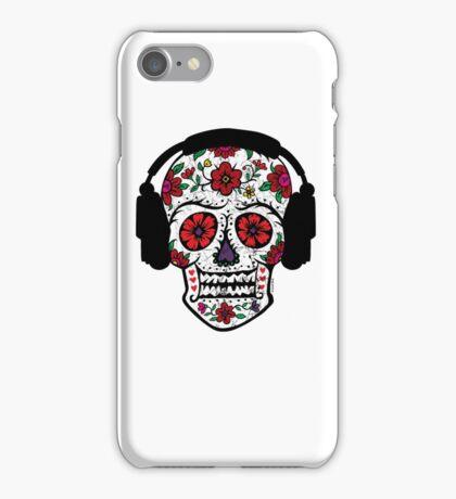Sugar Skull with Headphones iPhone Case/Skin