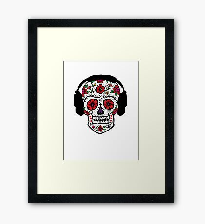 Sugar Skull with Headphones Framed Print