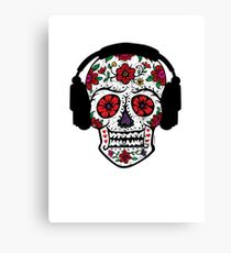Sugar Skull with Headphones Canvas Print