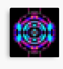 geometric square pixel abstract in orange blue pink with black background Canvas Print