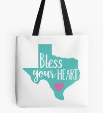 Bless Your Heart Turquoise and Pink Funny Womens Texas Tote Bag