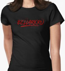 Bellarkru (Red Text) Womens Fitted T-Shirt