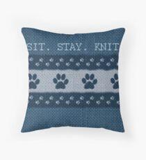 Animal Lover, Knitter, Artist. Blue Throw Pillow