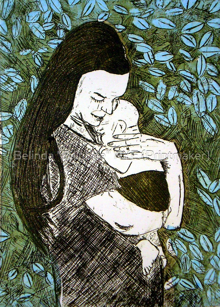 "Mother and Son - Etching by Belinda ""BillyLee"" NYE (Printmaker)"