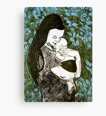 Mother and Son - Etching Canvas Print