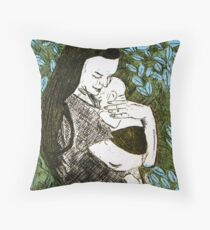 Mother and Son - Etching Throw Pillow