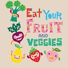 Eat your Fruit and Veggies - beige by Andi Bird