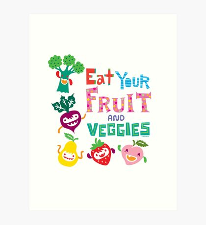 Eat your Fruit and Veggies - beige Art Print