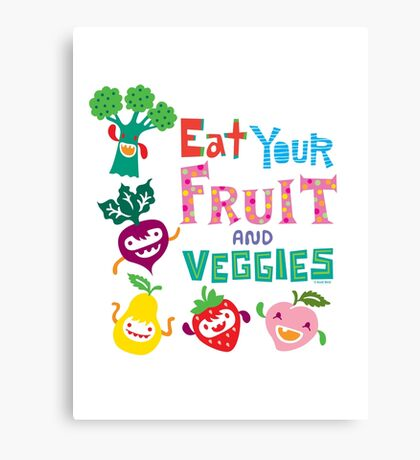 Eat your Fruit and Veggies - beige Canvas Print