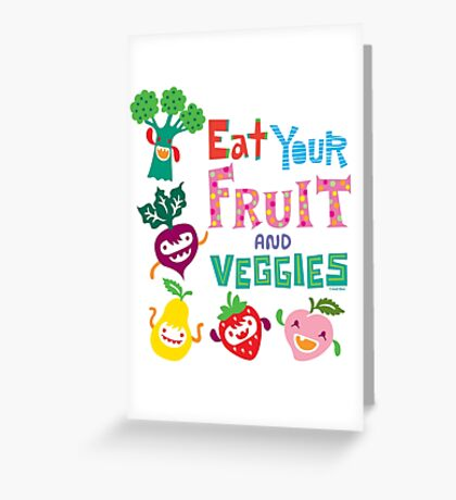 Eat your Fruit and Veggies - beige Greeting Card