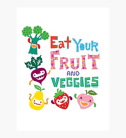 Eat your Fruit and Veggies - beige Photographic Print