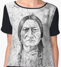 Native American Indian Chief Sitting Bull Grunge Portrait Chiffon Top