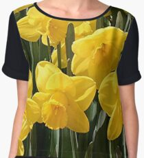 Yellow Daffodil flowers Women's Chiffon Top