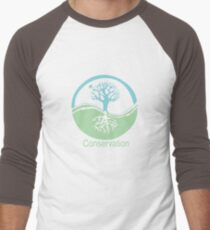 Conservation Tree Symbol aqua green Men's Baseball ¾ T-Shirt