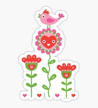 Happy - flower birds and hearts 2 Sticker