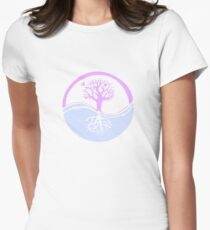 Conservation Tree Symbol Pink and Blue Womens Fitted T-Shirt