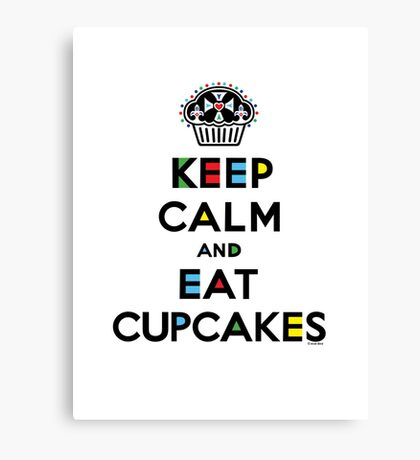 Keep Calm and Eat Cupcakes - mondrian  Canvas Print