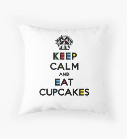 Keep Calm and Eat Cupcakes - mondrian  Throw Pillow