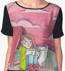 Camping Girl & Dog Chiffon Top