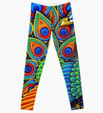 Colorful Paisley Peacock Bird Leggings