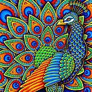 Colorful Paisley Peacock Bird by Rebecca Wang