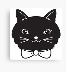 Cool Black Kitty Cat Face Canvas Print