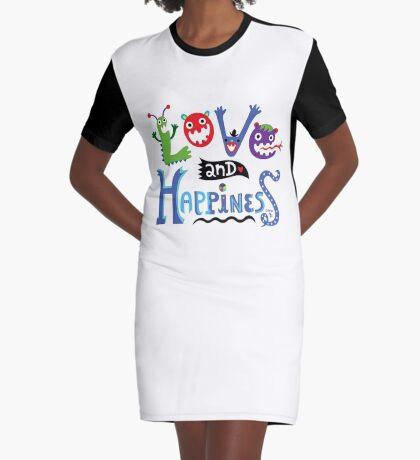 Love & Happiness  - beige Graphic T-Shirt Dress