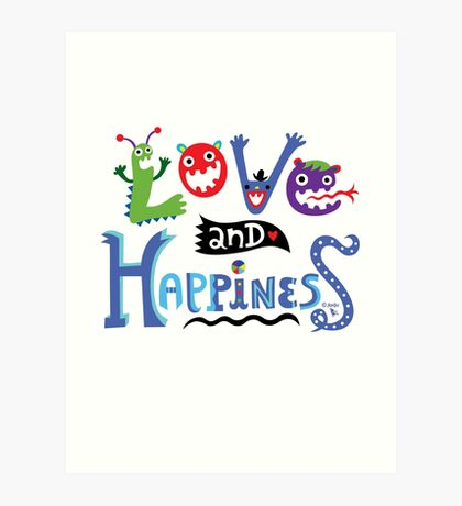 Love & Happiness  - beige Art Print
