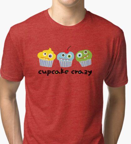 Cupcake Crazy - beige Tri-blend T-Shirt