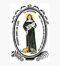 Saint Gertrude Patron of Cats Photographic Print
